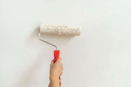Paint roller, hold female hands without gloves.
