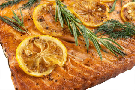Salmon with lemon steak, decorated with rosemary.