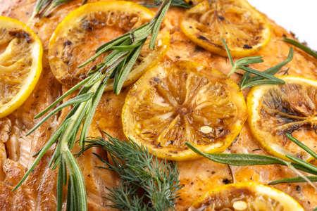 Salmon with lemon steak, decorated with rosemary-2. Reklamní fotografie