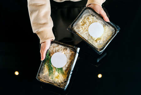 Healthy food and diet concept, restaurant dish delivery. Take away of fitness meal.