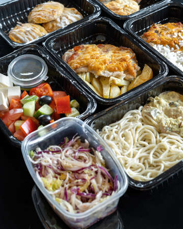 Healthy food and diet concept, restaurant dish delivery.