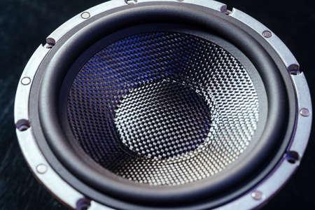 Hi-Fi audio system speaker membrane, carbon suspension. Elite music, hi-end quality.
