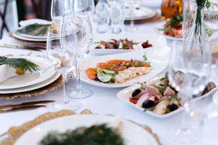 Wedding table with food and drinks, beautiful dishes, luxury catering-2.