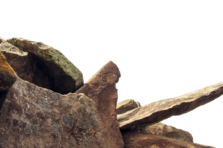 Natural mountain stones isolated on white background. Heap of rocks. Banco de Imagens