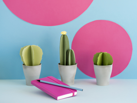Lovely notepad and nice pencil lying near pots with cute paper cacti on background of blue wall with fuchsia circles