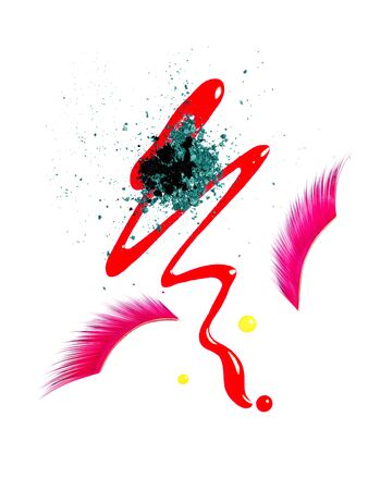 Verschütteter flüssiger Lipgloss, lila rosa falsche Wimpern und abgestürzte Lidschatten auf weißem Hintergrund. Make-up-Produkte für Lippen und Augen. Kreative Komposition von Gesichts-Make-up oder dekorativen Kosmetikproben. Beauty- und Make-up-Konzept.