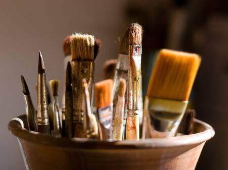 Closeup of brushes for painting