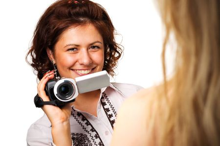 Woman with a video camera Stock Photo - 5509107