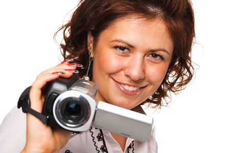 Woman with a video camera Stock Photo - 5509111
