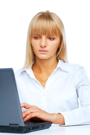 Portrait of woman working on a laptop Stock Photo - 5722097
