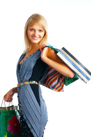 Smiling shoping woman with parsels on white background Stock Photo - 5807009