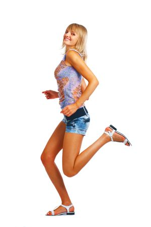 Slim and beauty caucasian running woman isolated on white background Stock Photo - 5851790
