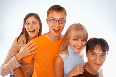 Young friends laughing together standing in a row Stock Photo - 5942556