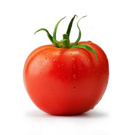 tomate: Tomate unique avec des gouttes.