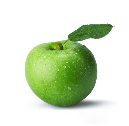 Fresh green apple with drops. The file includes a clipping path.  Professionally retouched high quality image.