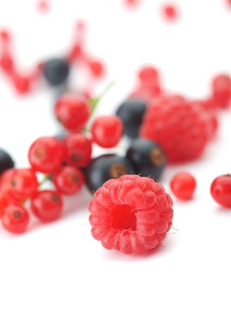 Spilled  mixed berries on white background whith a raspberry  in the foreground in focus.