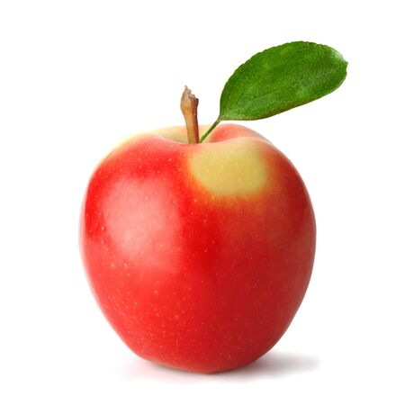 professionally: Fresh red apple with leaf. The file includes a clipping path.  Professionally retouched high quality image. Stock Photo