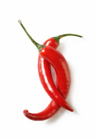 Perfectly fresh red hot peppers Stock Photo
