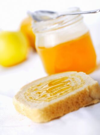 Fresh toast with honey. Close-up view