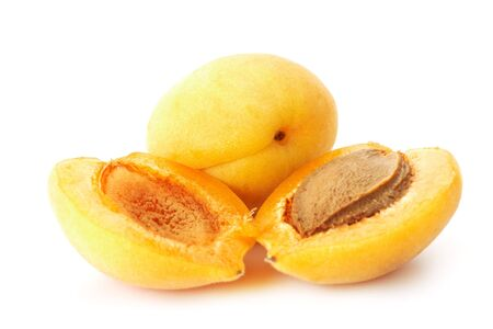 professionally: Halved Apricots.  Professionally retouched high quality image.