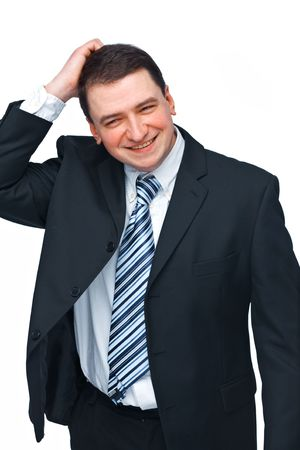 A portrait of young businessman scratches  his head over white background photo