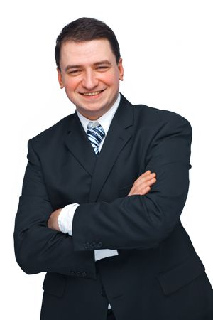 Portrait of a successful business man in a black suit with hands folded isolated over white  photo