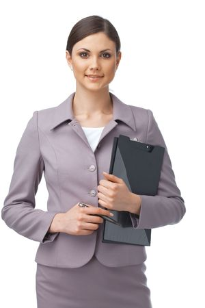 Portrait of a young confident businesswoman holding a clipboard Stock Photo