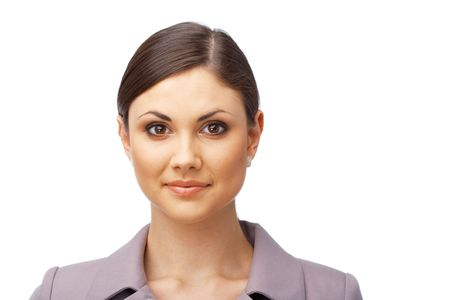 Pretty young business woman  looking at you on white background  photo