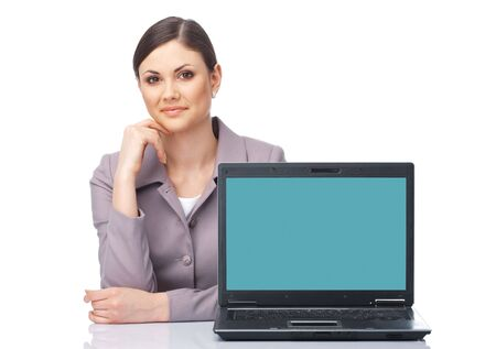 Young businesswoman presenting at the laptop over white photo