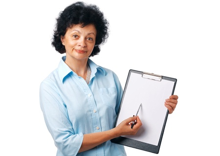 Elder woman holding a clipboard and showing something over white. photo