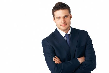 young man portrait: Portrait of young business man with folded hands against white background