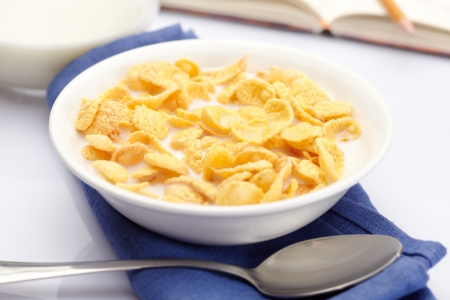 corn flakes: A bowl of cornflakes with milk Stock Photo