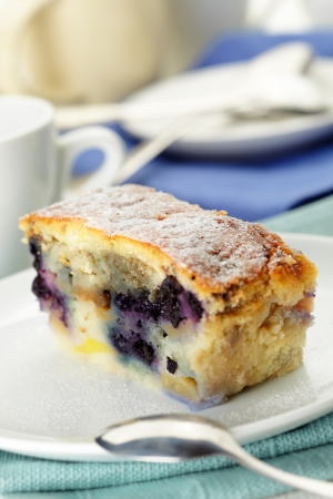 box size:  blueberry pie with blueberries in a white plate  Stock Photo