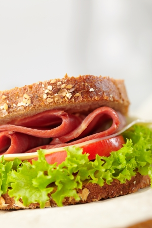 chees: fresh sandwich with tomatoes, swiss chees, lettuce Stock Photo