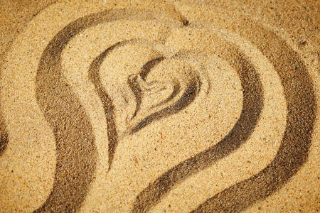 heart in sand: Heart drawn in the sand