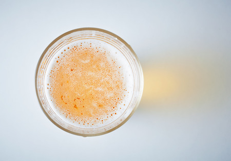 glass full of beer, view from obove Stock Photo