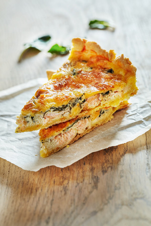 two object: Homemade Spinach and Salmon Quiche