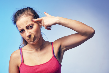 a woman in a suicidal mood Stock Photo