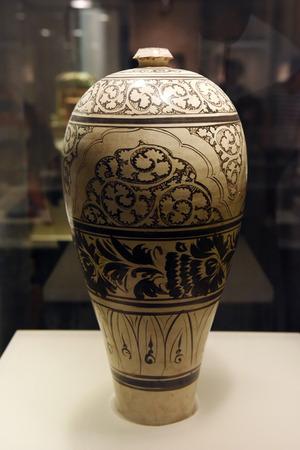 glaze: Cizhou white glaze black vase