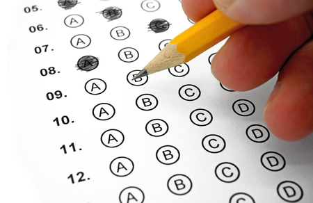 Filling out Answers on a Multiple Choice Test Archivio Fotografico