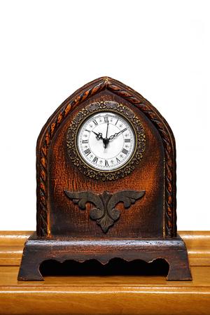 antique table: Antique Table Clock Stock Photo