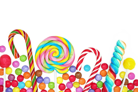 birthday party: Mixed Colorful Candies on White Background