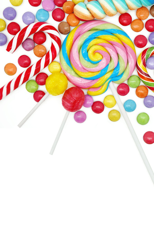 sweet tooth: Mixed Colorful Candies on White Background