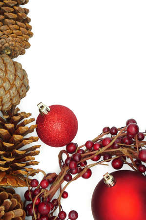 winterberry: Christmas Decoration with Red Baubles, Pine Cones and a Winterberry Wreath