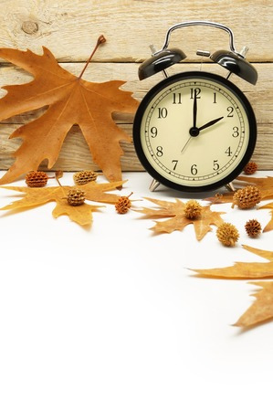 back in time: Autumn Time Change  Fall Back  Maple Leaves and an Alarm Clock on a Wooden Background