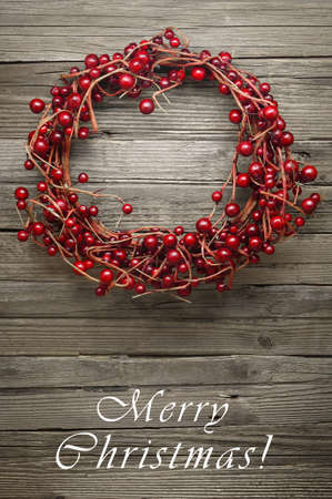 winterberry: Winterberry Wreath on a Wooden Rustic Background - Also Available Without Text