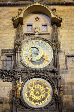 astronomical: The Astronomical Clock of Prague at Night Stock Photo