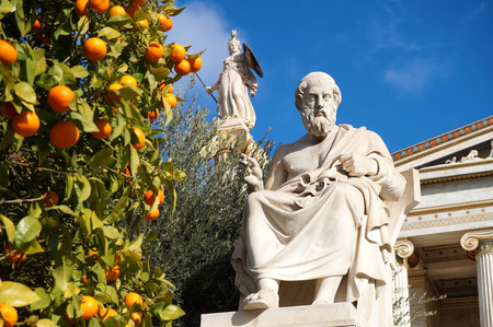 the thinker: The Statues of Plato and Athena at the Academy of Athens Stock Photo