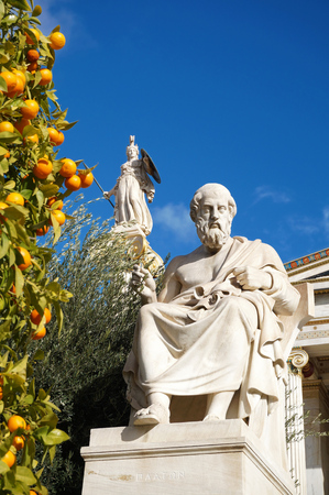 plato: The Statues of Plato and Athena at the Academy of Athens Stock Photo
