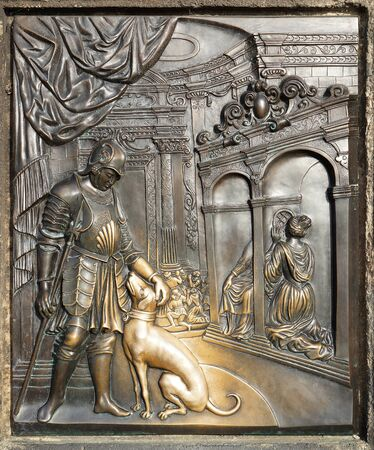 verdigris: Bronze Bas-Relief Sculpture on the Pedestal of the Statue of St. John of Nepomuk at the Charles Bridge in Prague depicting the Confession of Queen Johanna